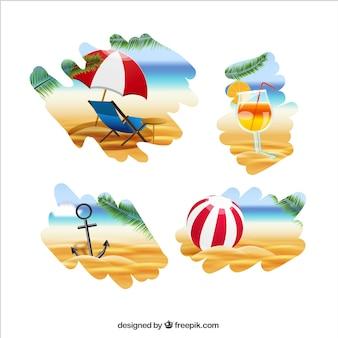 Elementos de praia Ilustração