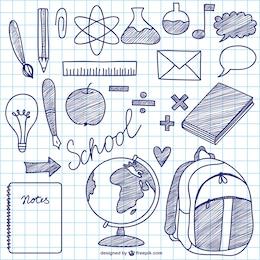 Elementos de tinta vetor escola