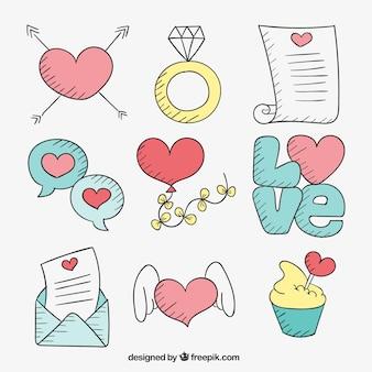Elementos desenhados mão do amor