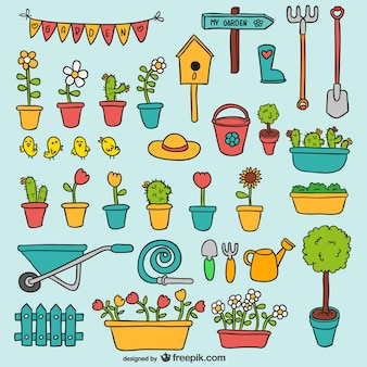 Elementos do jardim embalar
