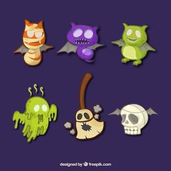 elementos dos desenhos animados do dia das bruxas