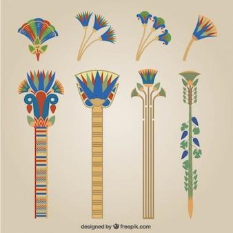 Elementos egípcios em design plano