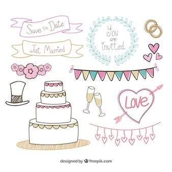 Elementos esboçado do casamento