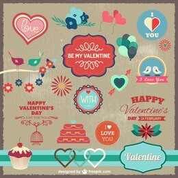 Elementos gráficos amor celebração