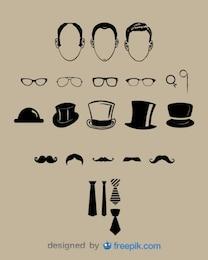 Elementos gráficos visual clássico cavalheiro