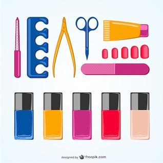Elementos manicure pacote vector