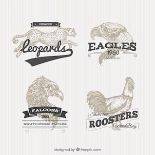 Emblemas animal no estilo retro