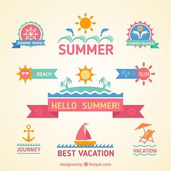 Emblemas coloridos do verão