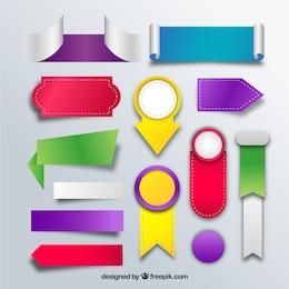 Emblemas coloridos e etiquetas