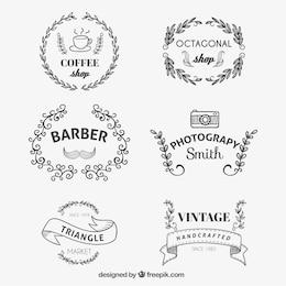 Emblemas da loja no estilo esboçado