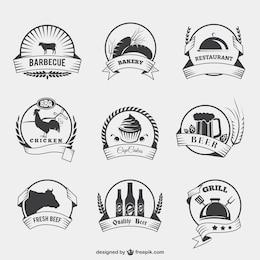 Emblemas de alimentos em estilo retro
