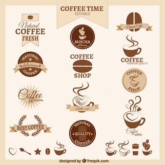 Emblemas de café retros