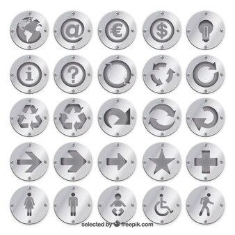 Emblemas de prata com ícones