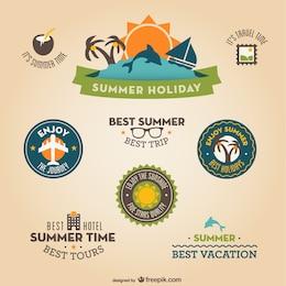 Emblemas férias retro planas