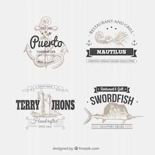 Emblemas Náuticos na ilustração do estilo