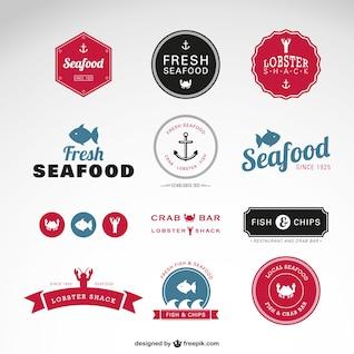 Emblemas vetor frutos do mar