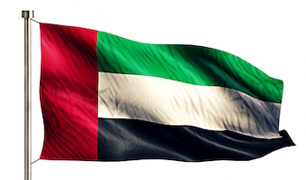 Emirados Árabes Unidos Bandeira Nacional Isolada 3D Fundo Branco