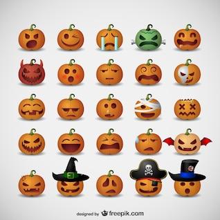 Emoticons de abóbora para o Halloween
