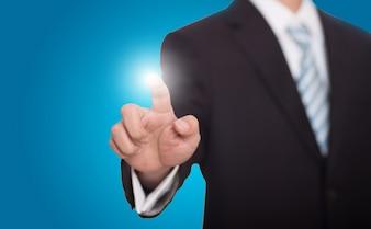 empresário turva com o dedo brilhante
