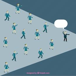 Empresários seguir líder