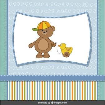 Engraçado do urso de peluche com pato do brinquedo Cartão do chuveiro de bebê