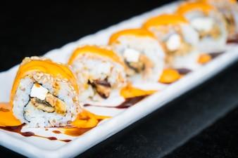 Enguia, sushi, rolo, maki, queijo