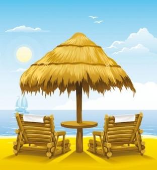 Ensolarado de verão vetor cadeira de madeira