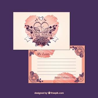 Entregue o cartão de amor desenhado com pássaros