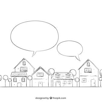 Esboçado bairro com balões de fala