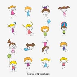 Esboçado crianças felizes