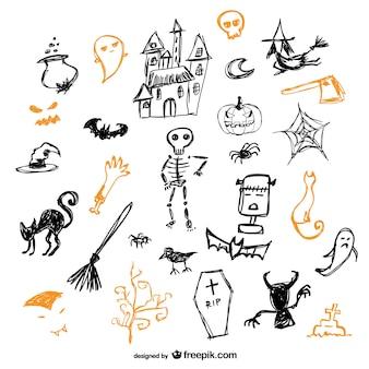 Esboço de halloween ícones conjunto de vetores
