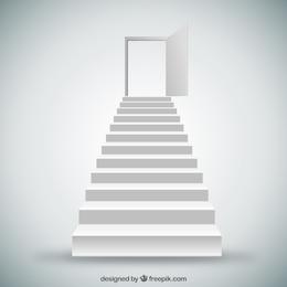 Escadas brancas e porta