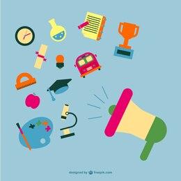 Escola ícones lisos conceito conjunto