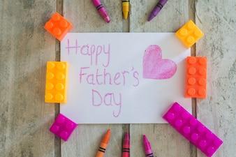 Escrevendo do dia de pai com coração