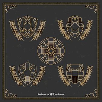 Escudos ornamentais de ouro