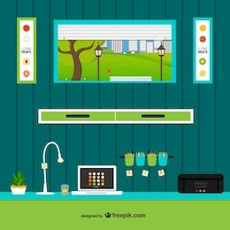 Espaço de trabalho com janela