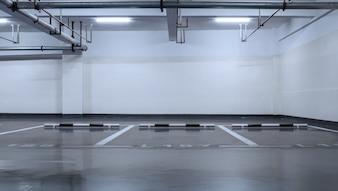 Estacionamento roxo sem carros