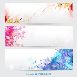 Estações florais banners fundo