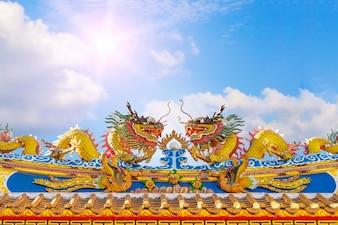 Estátua do dragão no telhado do templo chinês