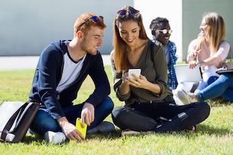 Estudantes felizes sentados no campus da universidade.