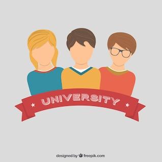 Estudantes universitários em design plano