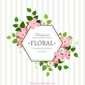 Etiqueta floral Hexagonal