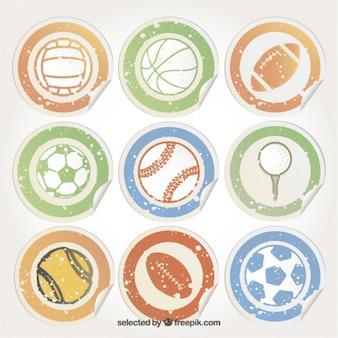 Etiquetas com esferas do esporte