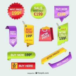 Etiquetas de preços publicidade conjunto de vetores