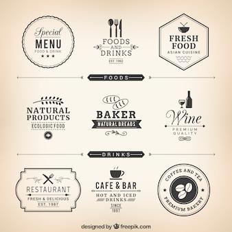 Etiquetas do restaurante