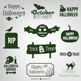 Etiquetas e logotipos de design coleção do dia das bruxas