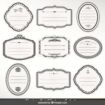 Etiquetas ornamentais monocromáticas