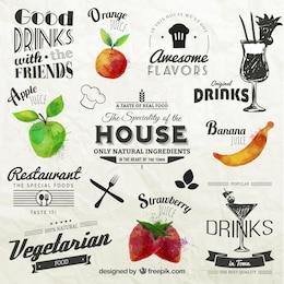 Etiquetas retros com frutas