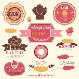 Etiquetas retros da padaria definido