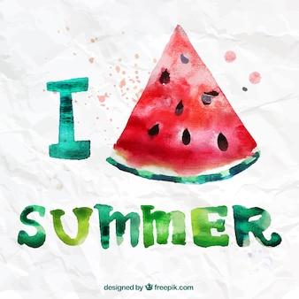 Eu amo o verão no estilo da aguarela